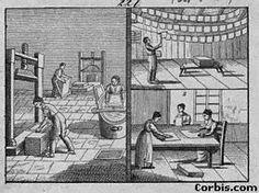 Ilustración de elaboración artesanal de papel en Europa.