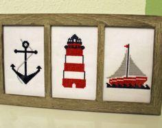 Nautical themed Cross Stitch (framed)