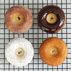 Cake doughnuts  2 cups cake flour, sifted  3/4 cup granulated sugar  2 tsp baking powder  1/4 tsp ground nutmeg  1 tsp salt  3/4 cup buttermilk  2 eggs, lightly beaten  2 Tbsp butter, melted