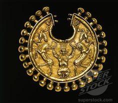 Achaemenid civilization, Gold earring with relief depicting god Ahura-Mazda, 6-4th century b.c.  #Achaemenids