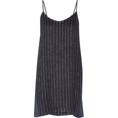 SEA Paneled wool-blend mini dress (€180) ❤ liked on Polyvore featuring dresses, blue, short dresses, blue dress, sea, new york, pinstripe dress and blue pinstripe dress