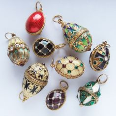 Fabergé style enamel Easter egg charms | Silver Star Charms #theworldinminiature