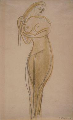 "Study for ""The Princess"" Constantin Brancusi, Romanian sculptor Life Drawing, Figure Drawing, Constantin Brancusi, Art Through The Ages, Art Africain, Philadelphia Museum Of Art, Art Walk, 2d Art, Famous Artists"