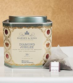 Diamond Jubilee tea from Harney and Sons --  This special edition tea has been created in celebration of Her Majesty Queen Elizabeth II's Diamond Jubilee (1952-2012) and her accession to the throne 60 years ago.    The tea is a bespoke blend which includes the Queen's favourite, earl grey tea, plus black teas, lemony bergamot and grapefruit essences.