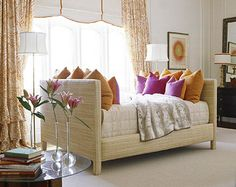 Choose a Daybed for Dual-Purpose Rooms     If your guest room leads a double life--as your home office or studio, for example --a daybed is a practical option. Piled with pillows, this tailored, raffia-covered daybed is topped with a faux-leather coverlet and can serve as casual seating.        When guests come to stay, pull up a side table to serve as a nightstand, stow half of the pillows, and your guest bed is ready.