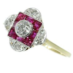 Stunning!  I love it! Art Deco Pink Ruby Ring Diamond Cluster 0.2ct European Cut Carre Ruby Yellow Gold 18kt 1920s Ring ref.12069-0021