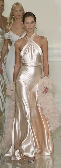 Cocktail Attire Style Ideas. Cocktail Dresses, Party Dresses, and Cocktail Outfit Ideas. Ralph Lauren champagne silk satin evening gown
