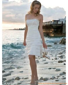 bf2d5045383 Organza Strapless Neckline with A line mini Skirt Beach Wedding Dress  Genoux