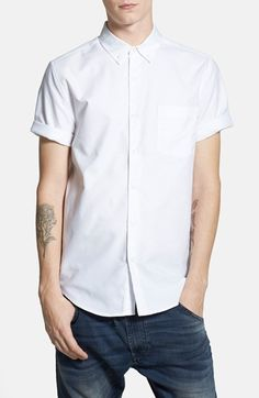 Topman+Short+Sleeve+Oxford+Shirt+available+at+#Nordstrom