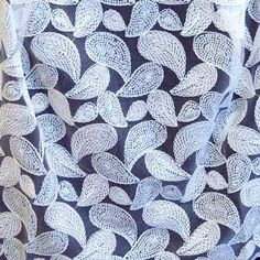 White Emroidery Paisley Sequin Fabric
