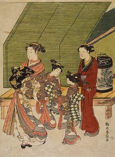 Suzuki Harunobu (about 1724-70), 'Parading Courtesan with Attendants', Late 1760, Nishiki-e (brocade print) V and A Museum