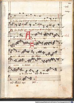Cantionale, Geistliche Lieder mit Melodien. Münchner Marienklage Tegernsee, 3. Drittel 15. Jh. Cgm 716  Folio 205