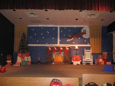 Music Class Ideas: 'Twas the Night Before Christmas Christmas Stage Design, Office Christmas Decorations, Christmas Backdrops, Christmas Party Themes, Christmas Program, Holiday Program, School Decorations, Holiday Ideas, Christmas Classroom Door