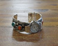 Vintage Sterling Silver Coral and Turquoise Watch Cuff Gold Earrings, Beaded Necklace, Coral Stone, Vintage Turquoise, Indian Jewelry, Sterling Silver Necklaces, Watch Bands, Bracelet Watch, Cuff Bracelets