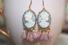 Wedgewood Blue Cameo Chandelier Earrings with by BabyRaindrops, $20.00