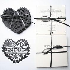 'Hearts' Laser Cut Wedding Invitation