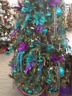 Aqua purple christmas tree