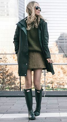 Helena Glazer + cute and seasonal + luscious green outfit, + cable knit sweater +  mini skirt + classic raincoat + hunter boots + countryside chic style  Boots/Coat: Hunter, Sweater: J Crew, Skirt: Maje.