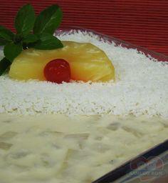 Receitas - Gelatina de Abacaxi com Coco | Xamego Bom