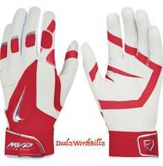 baseball equipment Nike MVP ELITE PRO Leather SOFTBALL batting gloves XL red new #Nike