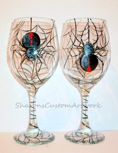 Items similar to Black Widow Spiders Hanging Web Halloween Hand Painted Wine Glasses Set of 2 / 20 oz. White Wine Glasses Halloween Gift Party Scary Spooky on Etsy Decorated Wine Glasses, Hand Painted Wine Glasses, Wine Glass Crafts, Wine Bottle Crafts, Diy Bottle, Glass Bottle, Halloween Wine Glasses, Wine Bottle Centerpieces, White Wine Glasses