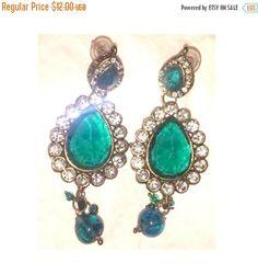 Vintage Emerald Rhinestone Earrings, Pierced Earrings, Green, Tear Drop Earrings, Dangling Earrings, White Rhinestones, Wedding, Prom by JunkYardBlonde on Etsy