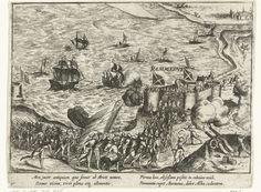 Anonymous | Fort Rammekens ingenomen, 1573, Anonymous, Frans Hogenberg, 1613 - 1615 | Fort Rammekens in Zeeland ingenomen door watergeuzen onder bevel van Charles en Louis de Boisot, 5 augustus 1573. Met onderschrift van 4 regels in het Latijn. Genummerd: 40. Bedrukt op achterzijde met tekst in het Latijn.
