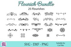 25 Hand drawn flourishes What designs can you create with this product? - T Shirt Embelishments - Stationary Embelishments - Card Embelishments - Cup Flourish Border, Web Design, Graphic Design, Design Ideas, Heat Transfer Vinyl, Design Bundles, School Design, Cricut Design, Cutting Files