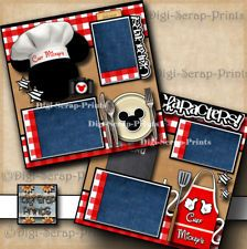 DISNEY CHEF MICKEY'S ~ 2 premade scrapbook pages paper piecing layout DIGISCRAP