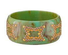Marbled Green / Blue Vintage Bakelite Bangle Bracelet with Gems
