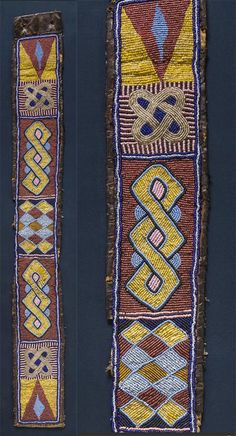Africa | Belt from Cameroon | Leather and glass beads | 20th century