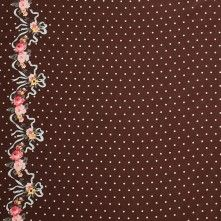 Chocolate Polka Dotted Silk Crepe de Chine Panel w/ Floral Border