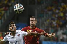 US defender DeAndre Yedlin holds off Belgium forward Eden Hazard for a header (July 1, 2014).