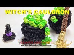 ▶ Rainbow Loom Band HALLOWEEN 3D WITCH CAULDRON Charm/Figure Tutorials by Crafty Ladybug - YouTube