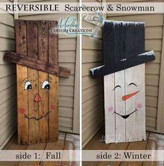 Reversible Pallet Scarcrow y muñeco de nieve ... éstas son las mejores ideas Fall Craft & DIY Decoración Proyectos!