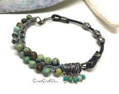African Turquoise Bracelet, Sundance Style, Beaded Bracelet, African Turquoise and Silver, Stacking Bracelet, Simple Boho Jewelry, Gift
