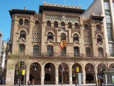 Post office (Correos) of Zaragoza, Spain (Neo-Mudéjar, Moorish Revival)