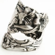 Lily Ring Large Ring Sterling Silver Spoon Ring Art Nouveau