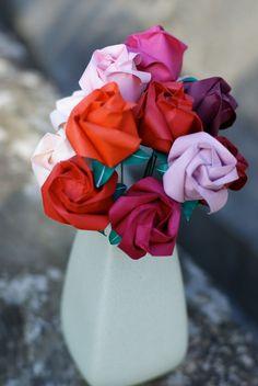 Be My Valentine One Dozen Origami Roses in by MyBohemianSummer