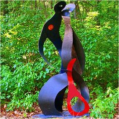 Blue and red metal, hand crafted, abstract metal sculpture, depicting two lovers. Harvey Gallery large scale garden statues are designed to make an statement, and will stand the test of time. This sculpture stands tall. Lawn And Garden, Garden Tools, Home And Garden, Sculpture Stand, Garden Statues, Garden Sculptures, Metal Garden Art, Lawn Ornaments, Lovers