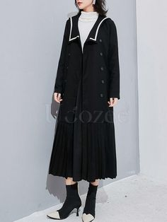 Sailor Collar Fishtail Pleated Windbreaker – uoozee Sailor Collar, Cotton Style, Fishtail, Going Out, Duster Coat, Windbreaker, Raincoat, Casual, Jackets