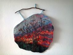 """ART felted picture """"Beautiful autumn"""" ART Felting textiles Textile wall hanging Wool tapestry (69.00 USD) by MalinaLinART"""