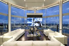 Architecture, Modern Living Room Riverside Penthouse With Projector TV Design And White Sofa Glass Table Plus Dark Laminate Flooring Tile ~ Riverside Penthouse Located in London House Seasons, Luxury Penthouse, Home Theater Design, Expensive Houses, Luxury Decor, Pent House, Cool Rooms, Living Room Designs, Luxury Homes