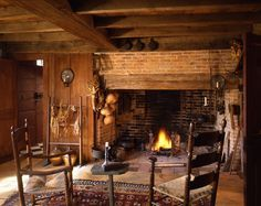colonial cooking fireplace - Google Search