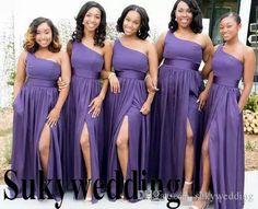 e8c570a0ad5 Purple Bridesmaid Dresses One Shoulder African 2019 A Line Wedding Party  Dress High Side Split Chiffon