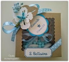 bomboniere battesimo- ioscrap.blogspot.it Box Packaging, Confetti, Wedding Favors, Ale, Place Card Holders, Baby Shower, Scrapbook, Handmade, Gifts