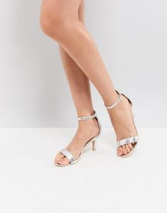 Glamorous Silver Barely There Kitten Heeled Sandals d2b73917bf4