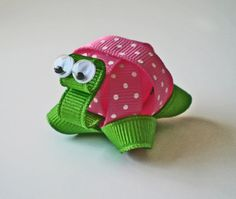 Free Shipping Promo with 15 Dollars or More... Hot Pink Polka Dotted Turtle Ribbon Sculpture Hair Clip... So Cute on Girls of All Ages. $3.50, via Etsy.