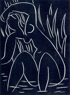 Henry Matisse - The Afternoon. Linocut from 1941/1942. Style: Fauvism/Impressionism. Viewable in Bibliothèque Nationale, Paris.