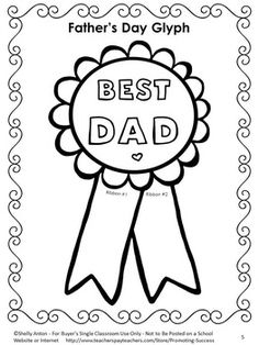 FREE Father's Day Glyph - In this free Father's Day activity, students will complete the glyph. Students will answer questions about their dads and color the ribbon in colors based on their answers.